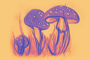Watercolor of mushrooms in the grass by oanaunciuleanu
