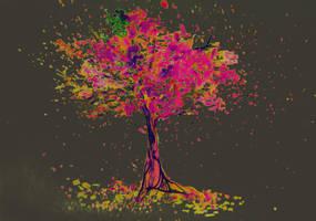 Watercolor of autumn tree by oanaunciuleanu