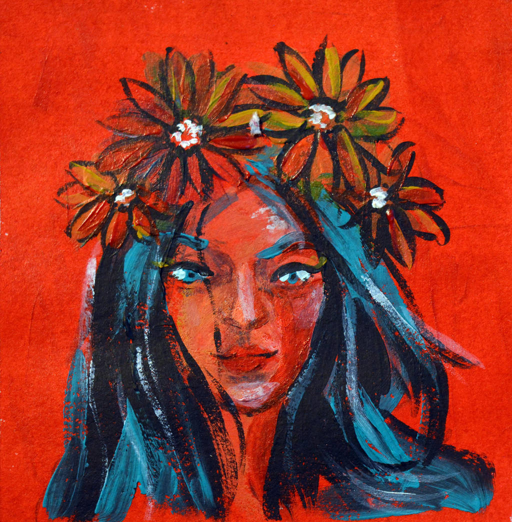 Feel the spark, 2017, 10-10cm, acrylic on paper by oanaunciuleanu