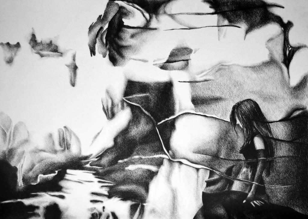 Stalking shadows ahead, 2018, 50-70cm, graphite by oanaunciuleanu