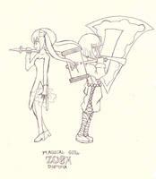Magical Girl Zusa Dystopia alpha sketch by Candor-Shade