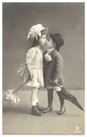 Vintage Children Kissing by Bnspyrd
