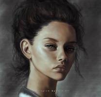 Beauty Brunette - digital drawing by GhaliaArt