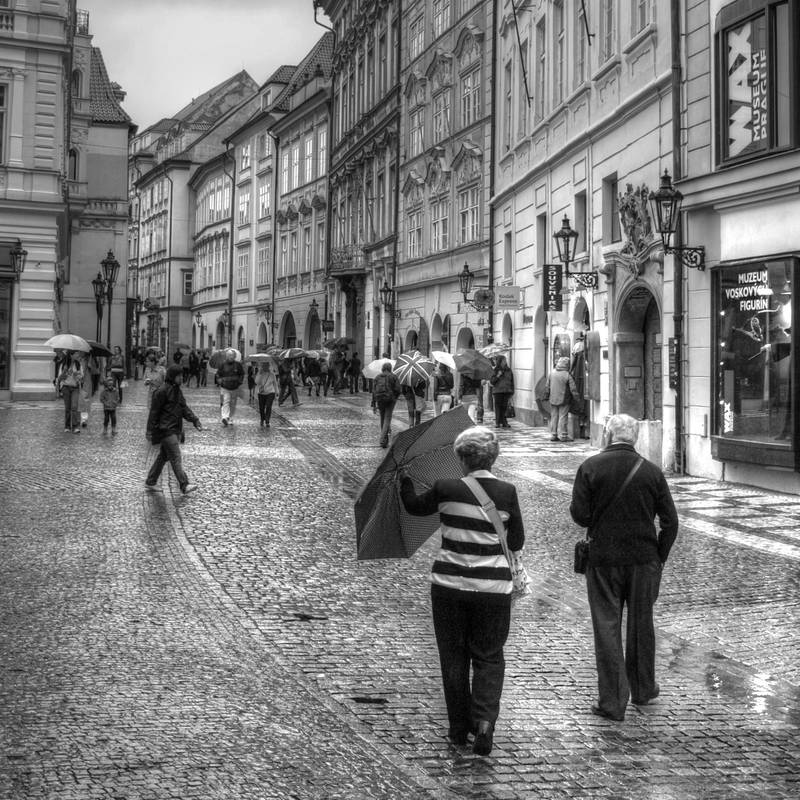 Prague street, rainy day... by vertatp