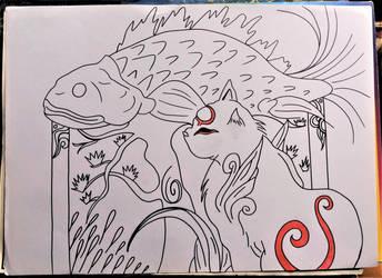 okami .... cat  kabegami by milkalexandra1234
