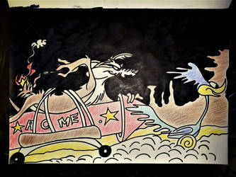coyote and the road runner by Drawings-forever