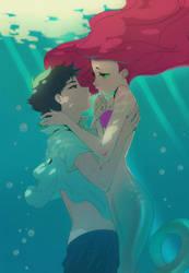 Robin and Starfire  Mermaid by starfiredark