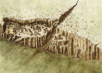 An Adobe cliffside city by Jaxilon