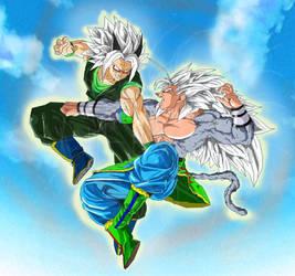 ssj5 Goku vs Xicor colored by ruga-rell