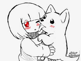 Chara found a white dog by Loveponies89