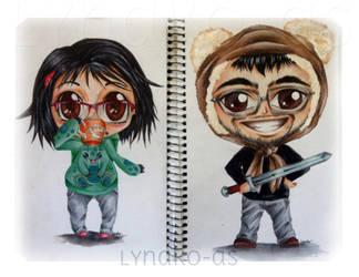 Chibi Yoyoangel and her boyfriend by Lynako