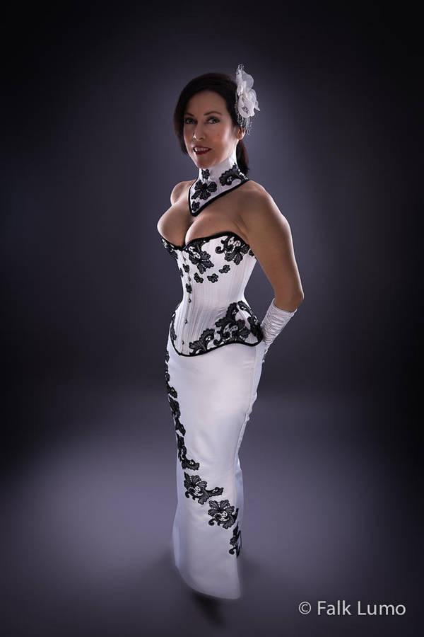 White overbust corset by FalkLumo