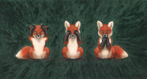 Three wise foxes by PanHesekielShiroi
