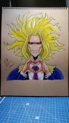 All Might Fan Art \\ Special 100 Watchers // by Vila78