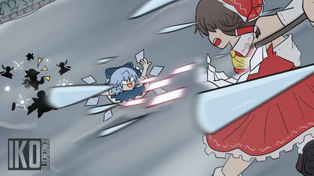 Touhou: Cirno Battle by Blueneonkid