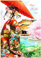Happy New Year 2013: Red Geisha by Eternal-S