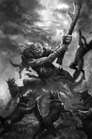Troll vs wild goblin dogs by TARGETE