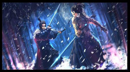 Samurai clash in snow by Chenzan