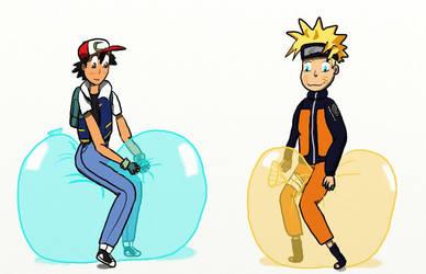 Naruto and Ash's balloon rides by MrDeviantarter