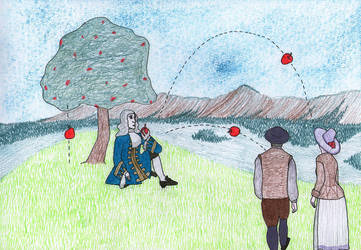 Newton Throwing Apples at Passersby by ausrejurke