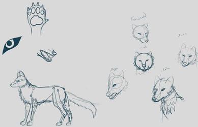 Wolf ref Sketch WIP by Vixxiin