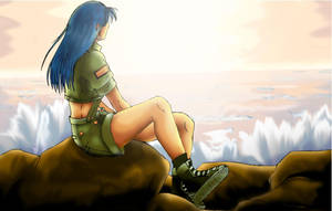 Leona looking at the sea by LeilaAscariz