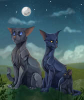 Family Portrait - Crowfeather's family by TheWisestDino