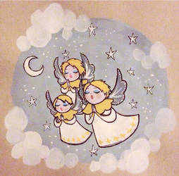 Christmassy angel lady fings by Loplolly