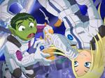 Zero-G Beast Boy and Terra by jodi-seer