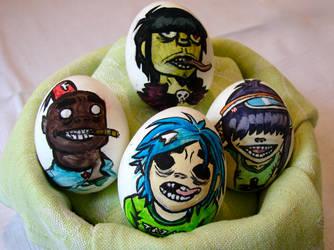 gorillaz on eggs by ka-ja