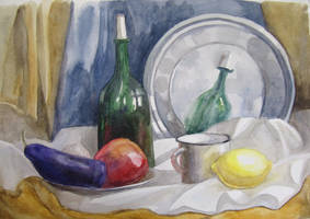 Still life with bottle, fruits and eggplant by Kaitana