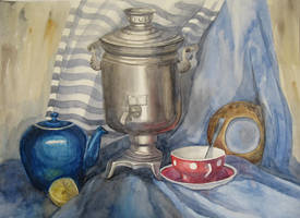Samovar with red cup and blu teapot by Kaitana