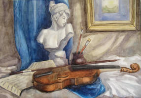 Plaster bust and a violin by Kaitana