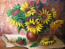 Sunflowers and viburnum by Kaitana