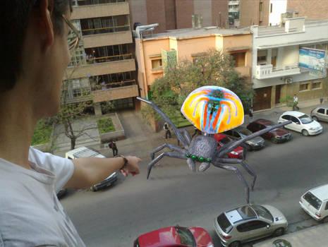 Maratus Volans Giant Peacock Spider Invading City by IvanHubo