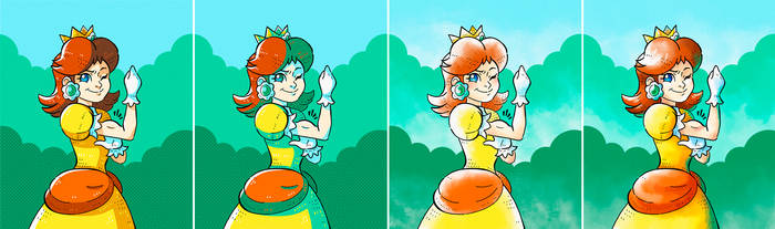 Princess Daisy Colouring Style Tests by nya-nannu