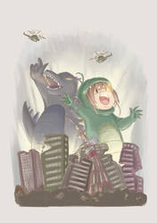 Godzilla and Sakuzilla by yaninpoart