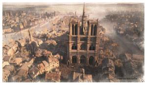 Notre Dame Watercolour 3 by vampirekingdom