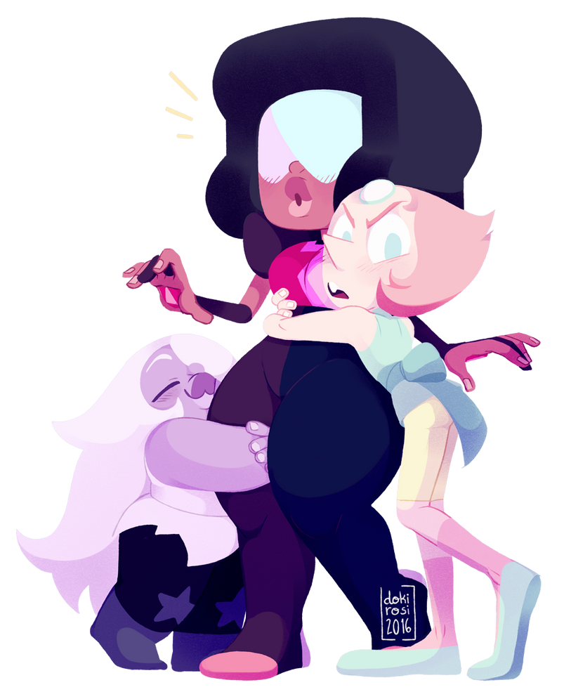 """Pearl : """"OUR garnet is clearly the superior one"""" ( also Amethyst has the perfect height to hug that thigh.)"""
