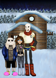 Sans and Papyrus house with crew by TurtleChix