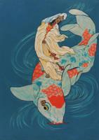 Kuan Yin on Carp by anitaburbeck