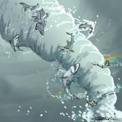 Shark Week Sketch Jam: THE SHARKNADO by munchanka