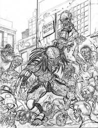 Predator versus zombies by voodazz