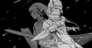 Sheik and Link Battle Onward by Alamino