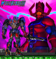Optimus Prime Confronts Galactus by WOLFBLADE111