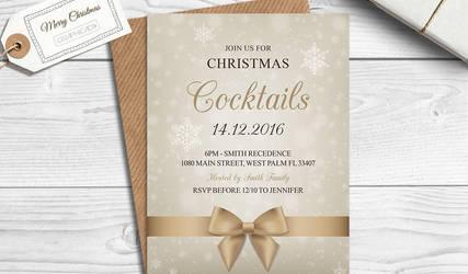 Free Christmas Invitation / Holiday Invitation PSD by Graphicadi