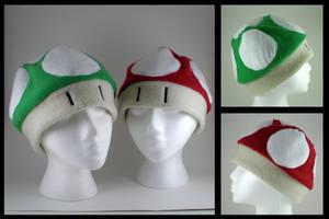 Mario Mushroom hats by eitanya