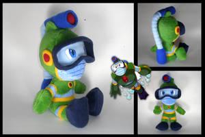 Megaman - Bubbleman plushie by eitanya