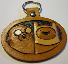 Leather Adventure Time Finn and Jake Keychain by Kaje202