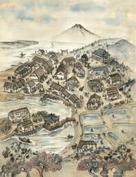 Laughing River Village Map - L5R RPG by FrancescaBaerald
